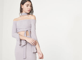 Mauve Rib Knit High Neck Wrap Around Belt Crop Top