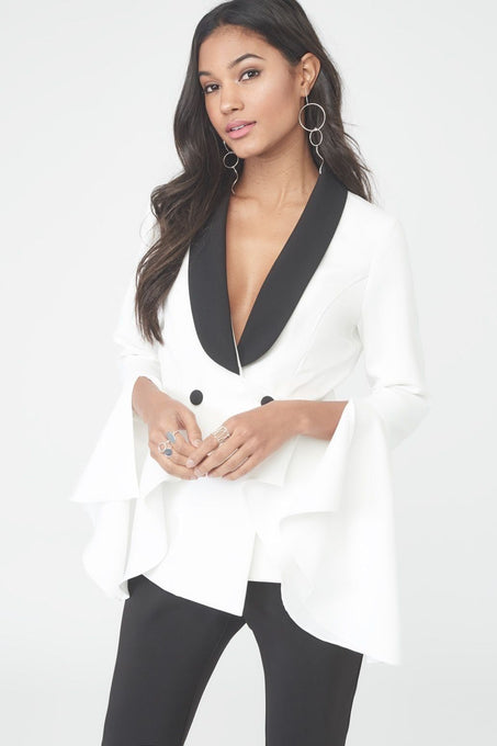 Split Bell Sleeve Blazer in White