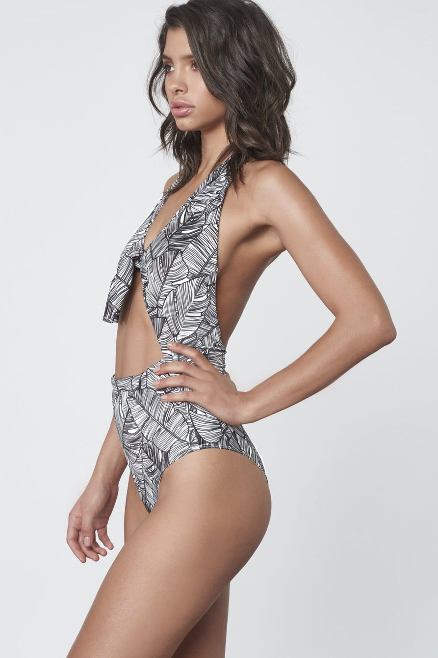 Tie Front Swimsuit in Monochrome Palm Print