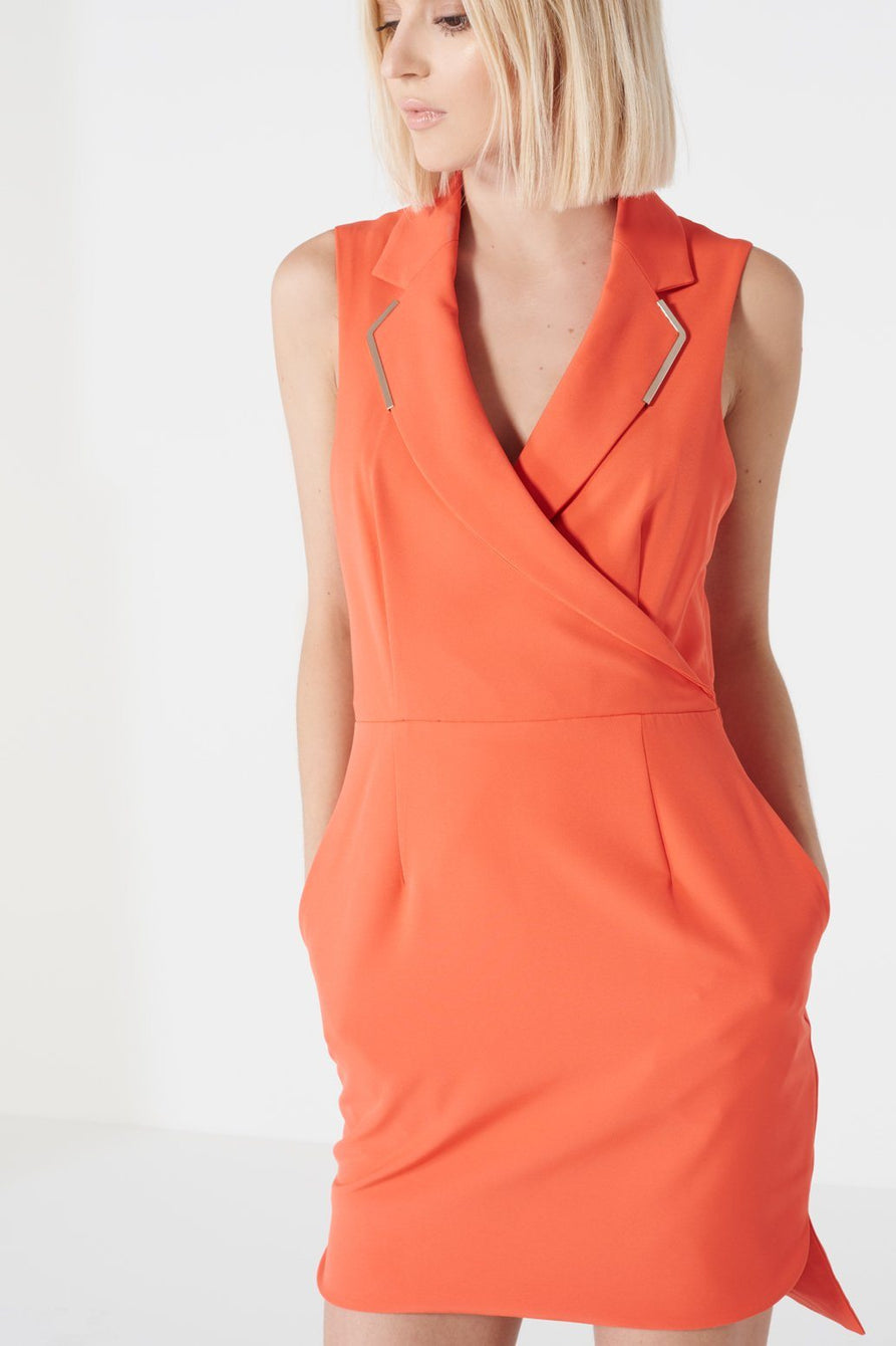 Orange Metal Lapel Trim Open Back Mini Dress