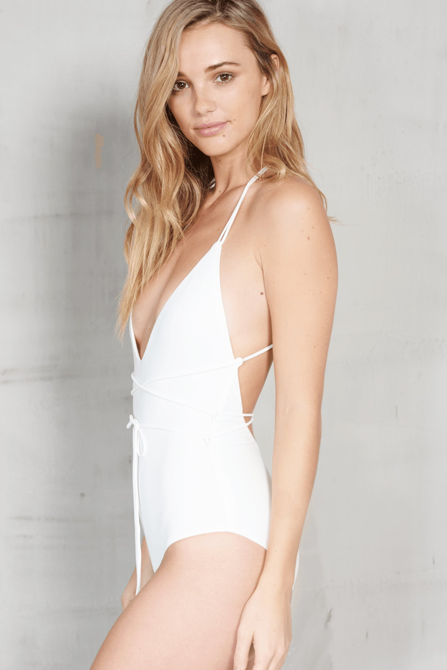 White Deep Plunge Wrap Tie Swimsuit