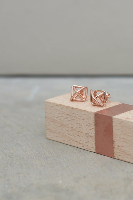 Prism Stud Earrings in Rose Gold-Plated Sterling Silver