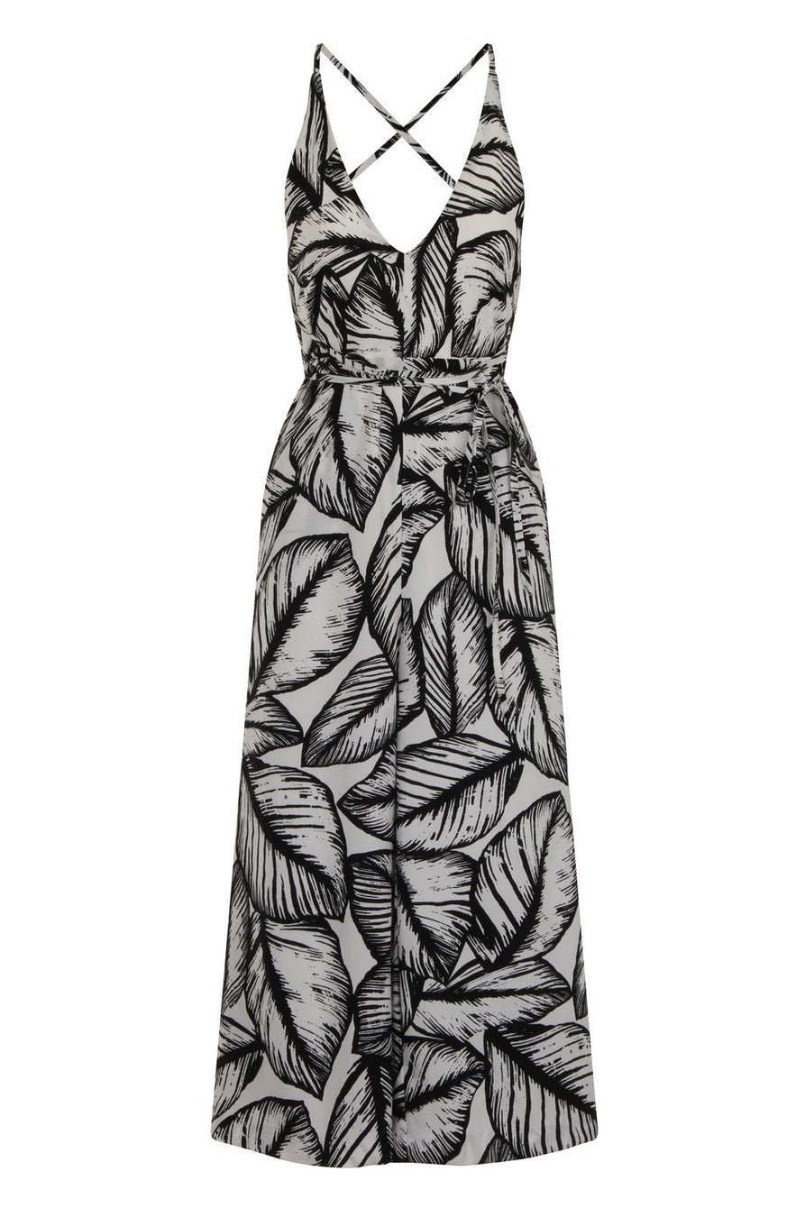 Monochrome Palm Print Open Back Cross Strap Culotte Jumpsuit