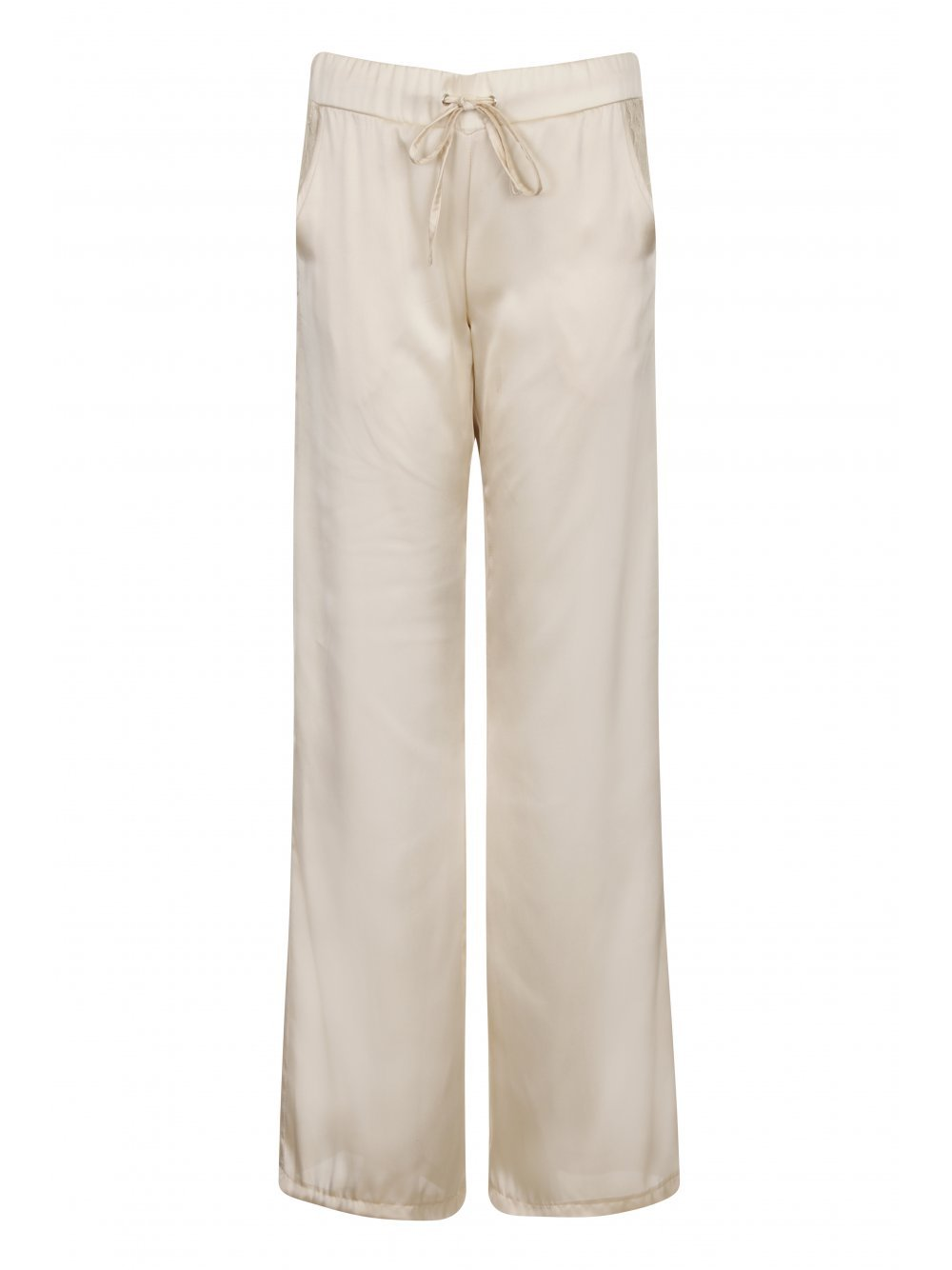 Champagne Satin Lace Pocket Pyjama Trousers
