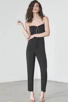 Corset Detail Jumpsuit in Black