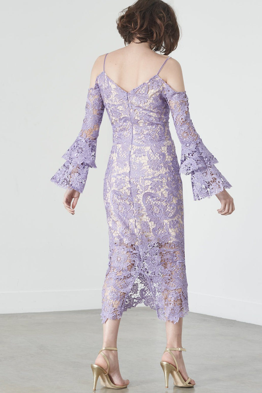 Ruffle Sleeve Cold Shoulder Dress in Lilac Lace