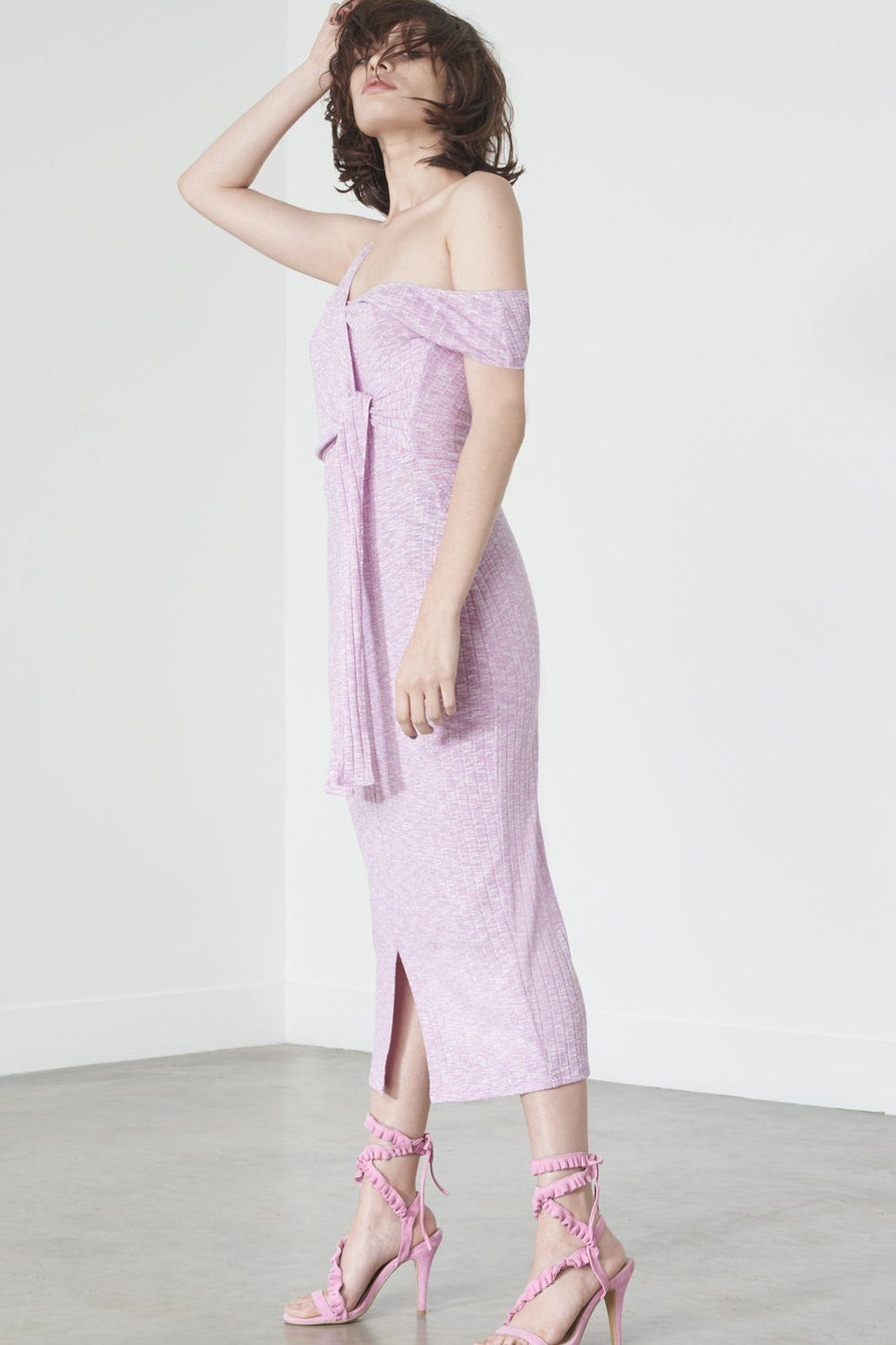 Asymmetric Tie Midi Dress in Violet Knit