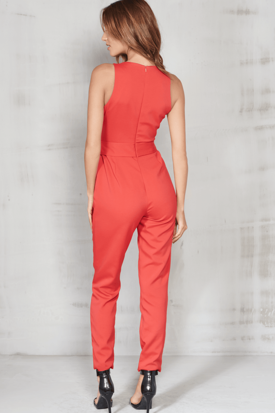 Red High Neck Tie Front Jumpsuit