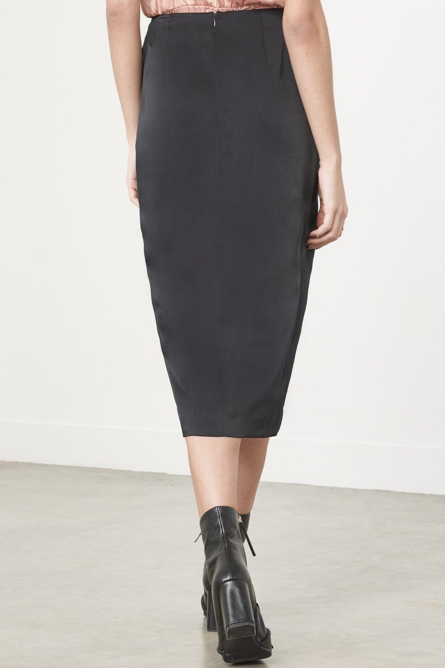 Knot-Front Skirt in Black Satin