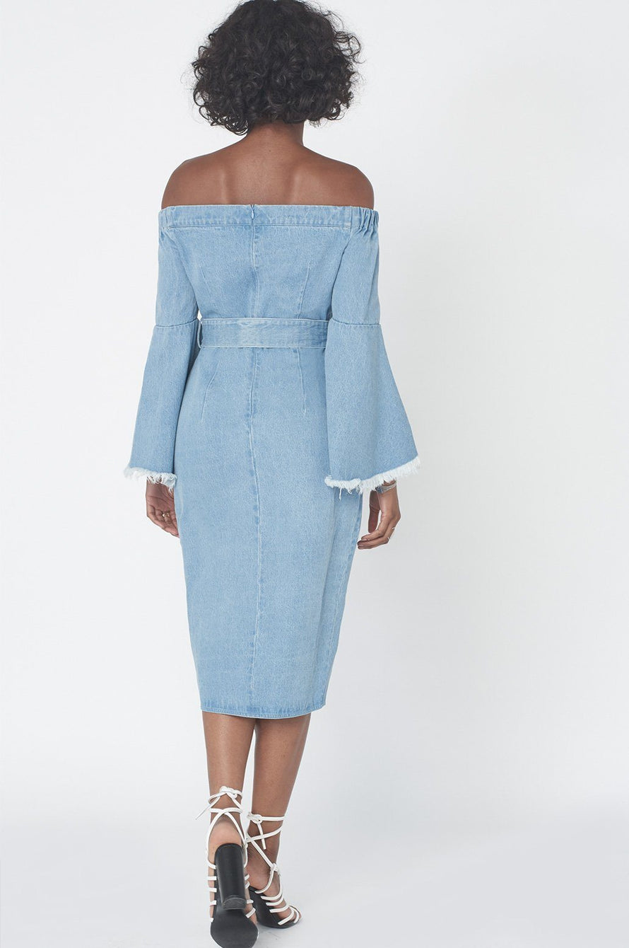 Bell Sleeve Bardot Dress in Light Wash Denim