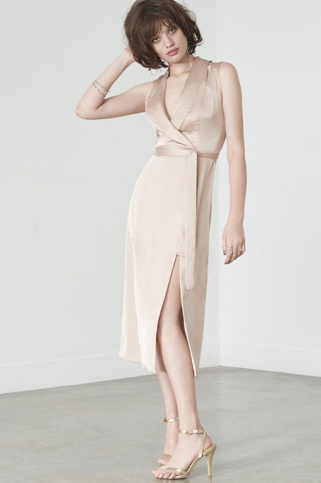 Double Split Tux Dress in Sand Satin