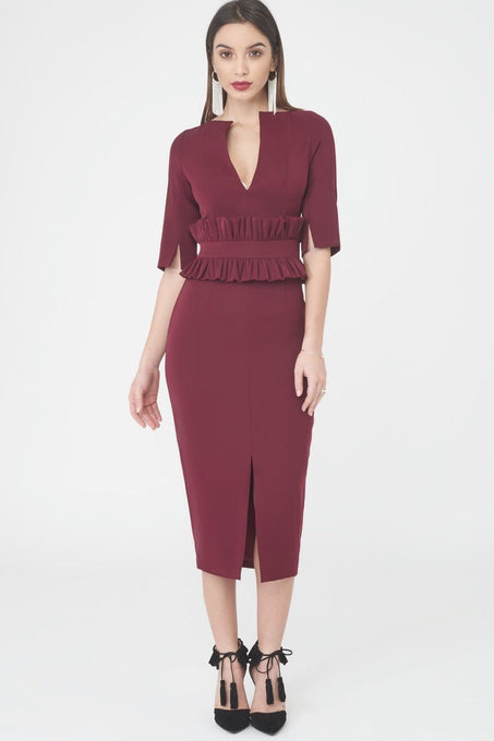 Deep Plunge Midi Dress with Peplum Waist