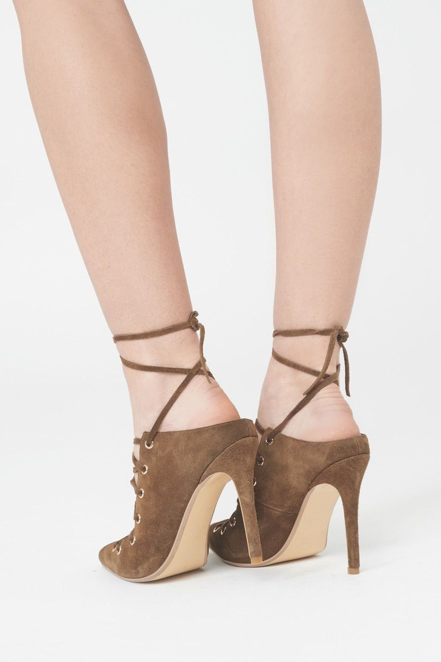 Lace Up Backless Stiletto Heels in Khaki Suede
