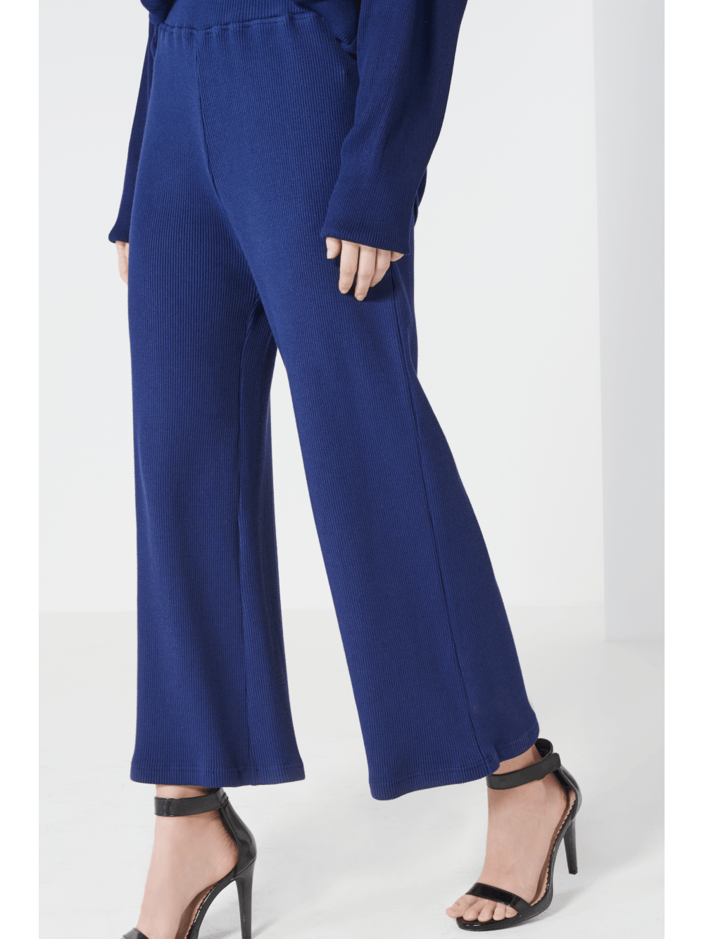 Navy Rib Knit Cropped Flare