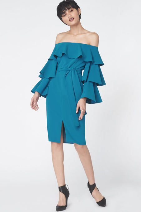 Ruffle Sleeve Bardot Dress in Teal