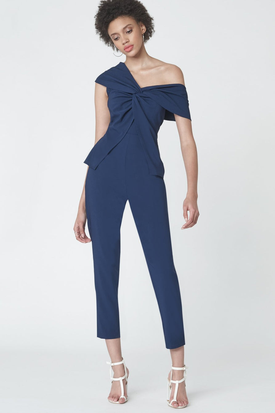Twisted Asymmetric Jumpsuit in Ink