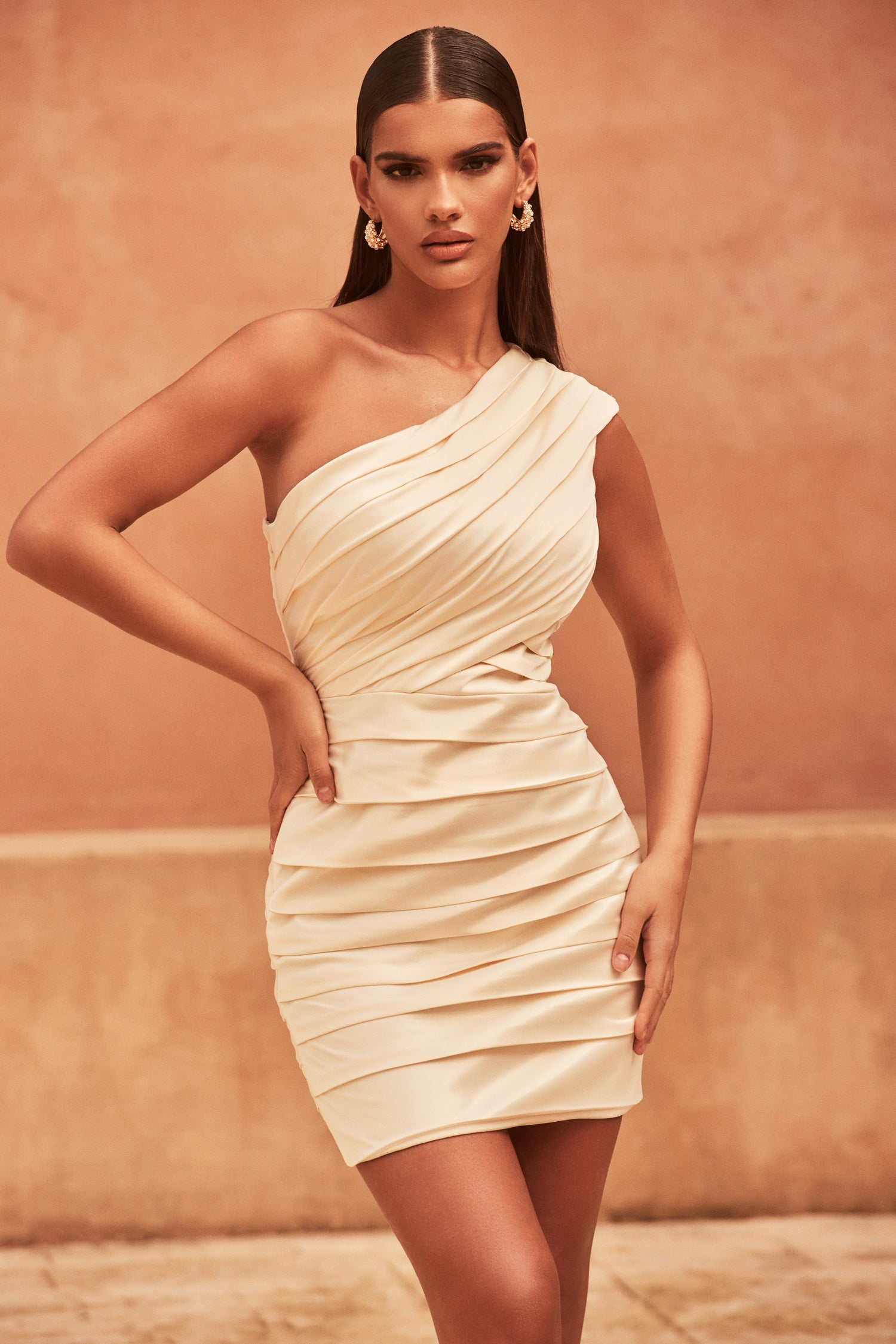Hand Pleated One Off Shoulder Satin Dress in Champagne