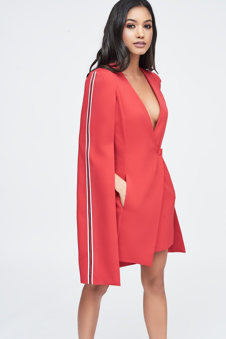 Red Tuxedo Cape Mini Dress with Sports Side Stripe