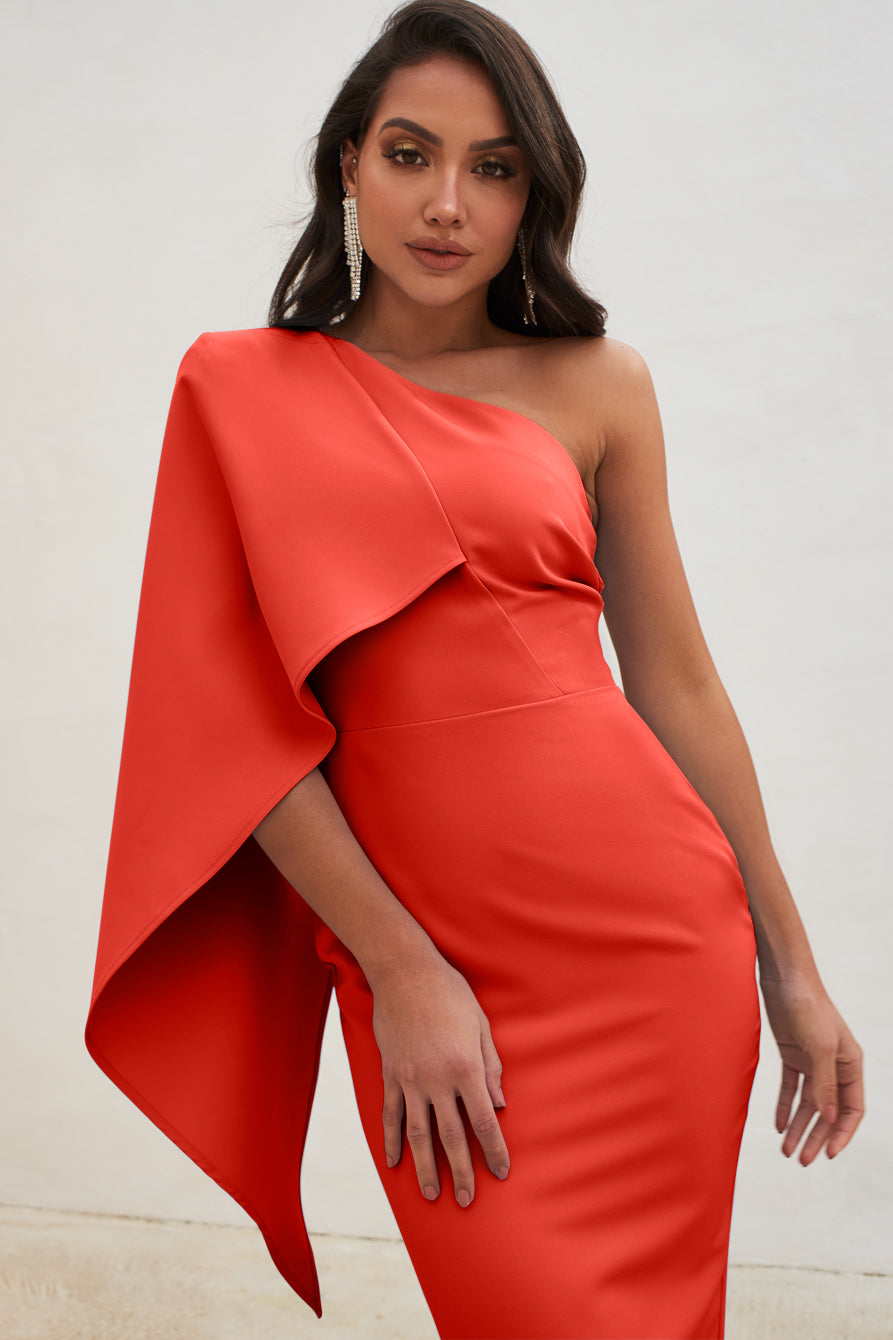 One Shoulder Cape Midi Dress in Red