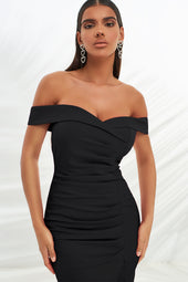 Bardot Pleated Asymmetric Midi Dress in Black