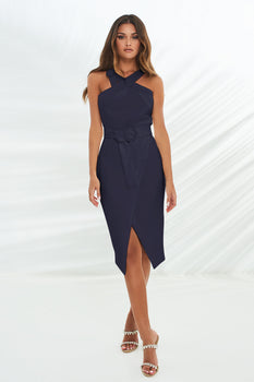 Halter Neck Wrap Midi Dress With Buckles in Navy