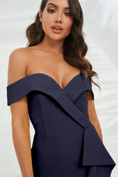 Bardot Midi Dress With Waterfall Ruffle in Navy