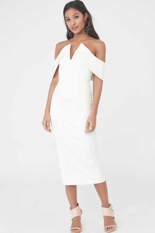 Bardot V Neck Midi Dress
