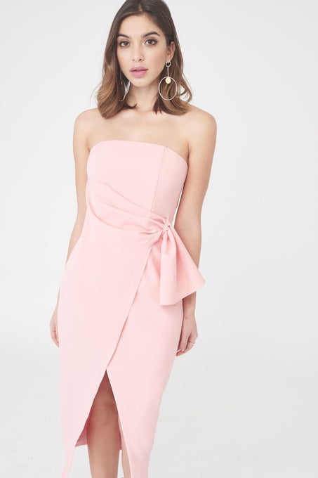 Bandeau Wrap Over Midi Dress