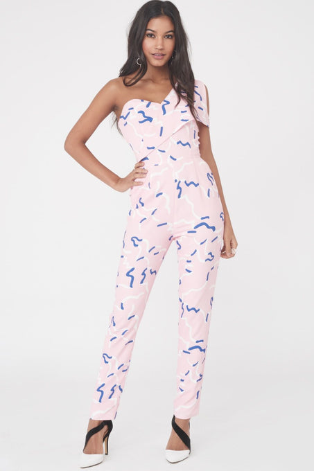 Print Cold Shoulder Jumpsuit