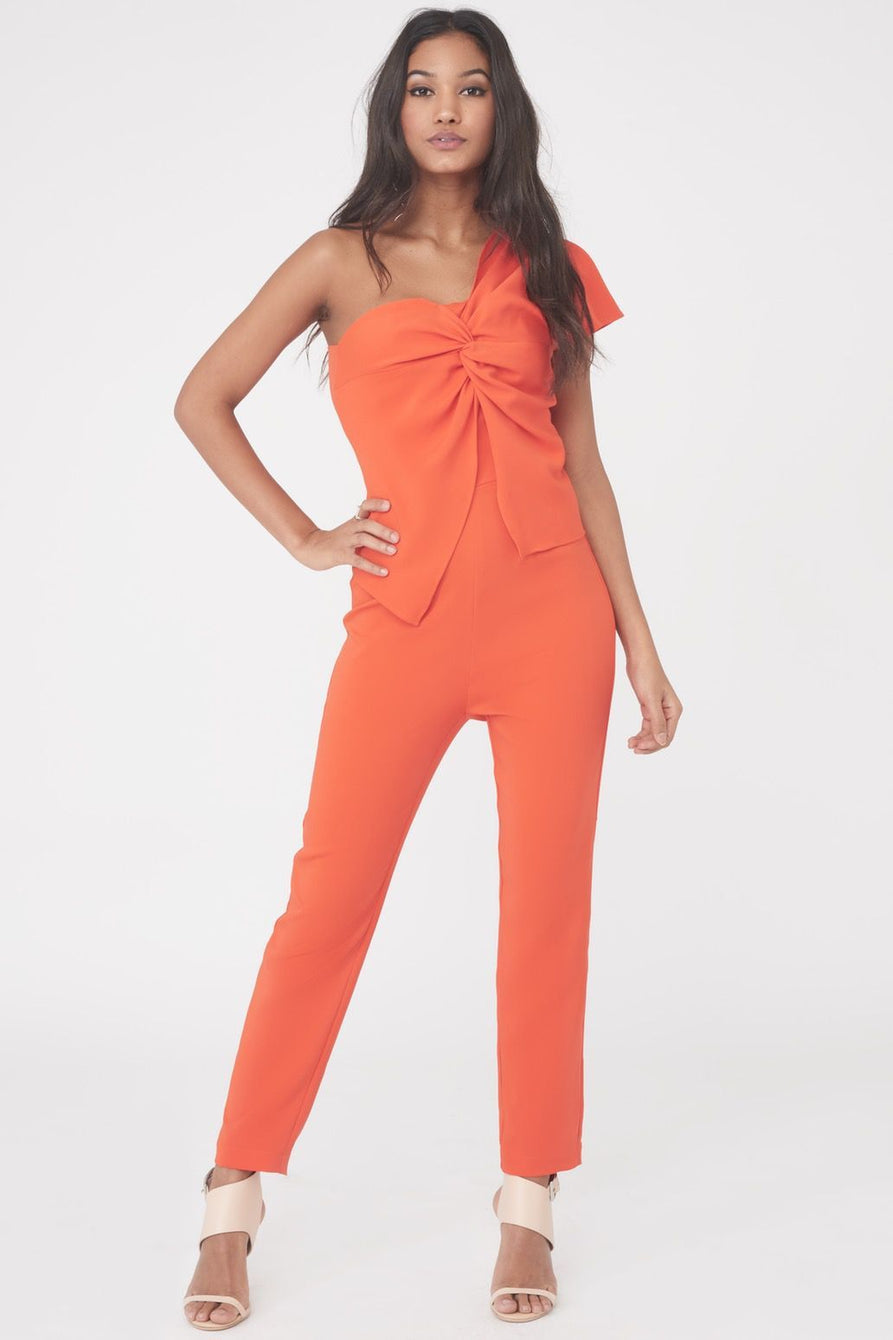 One Shoulder Twisted Jumpsuit