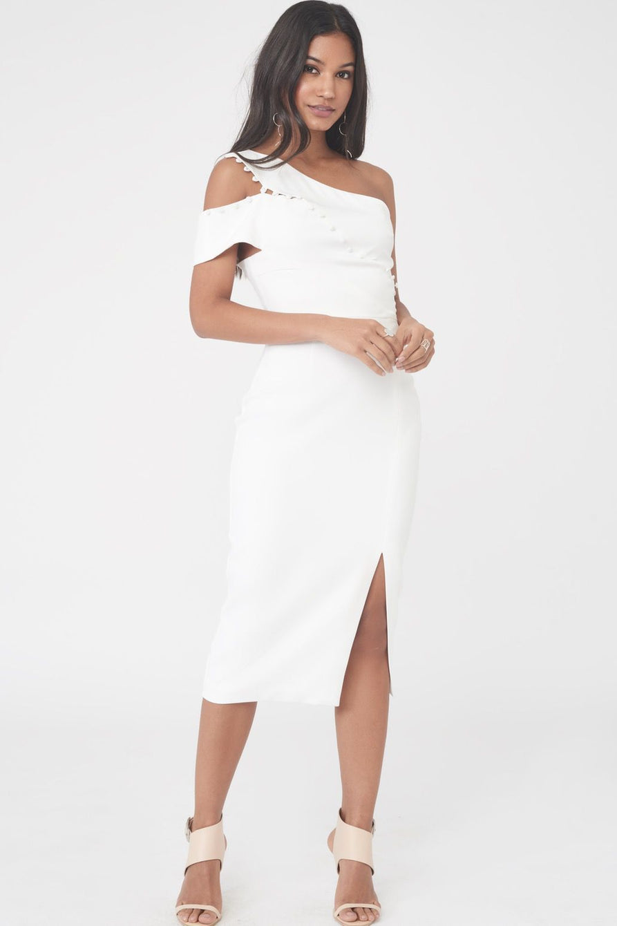 Buttoned One Shoulder Midi Dress