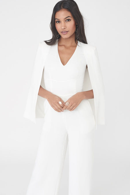 Plunge Cape Wide Leg Jumpsuit