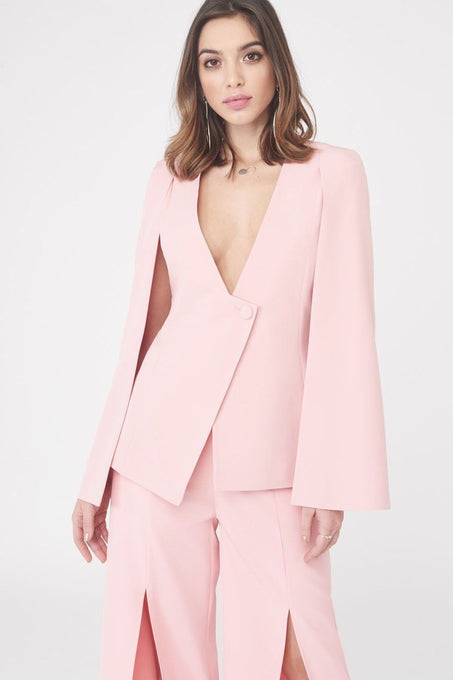 Asymmetric Hem Fitted Cape Blazer