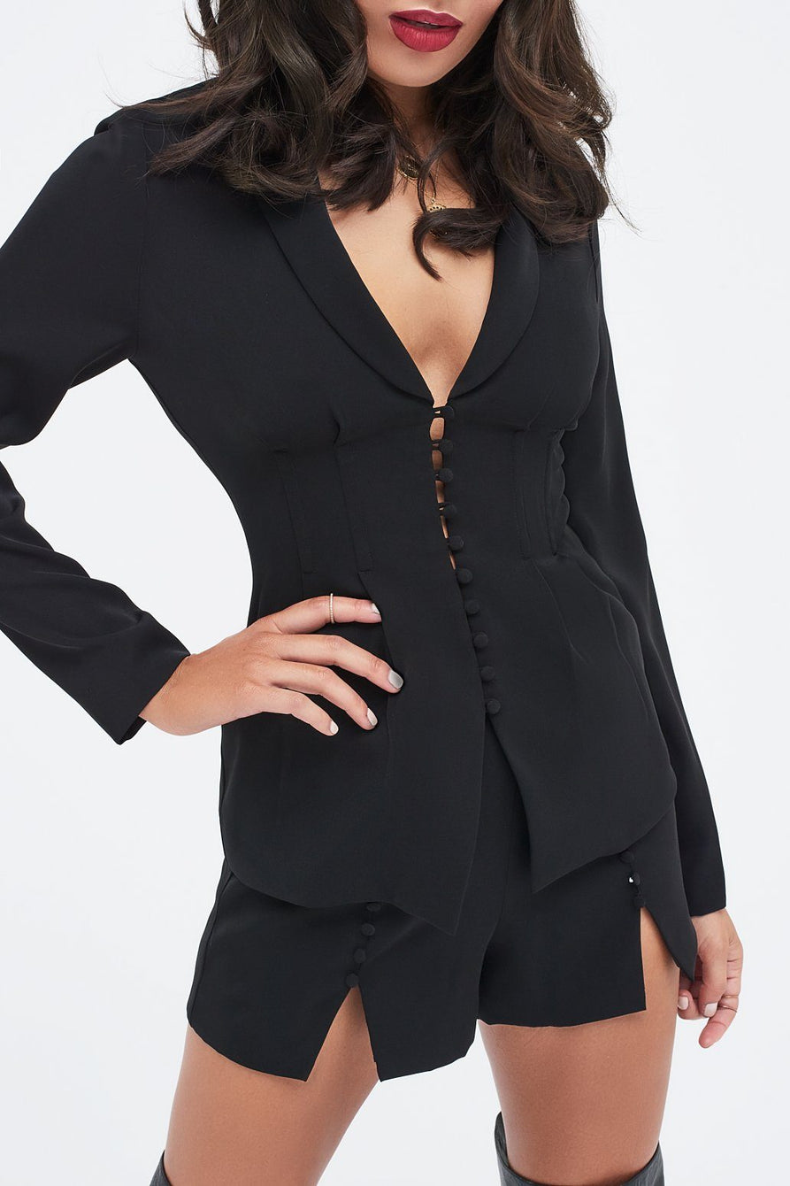 Button Detail Blazer in Black