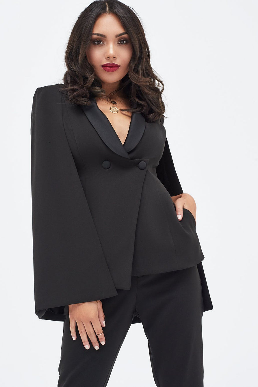 Cape Blazer with Contrast Lapel in Black