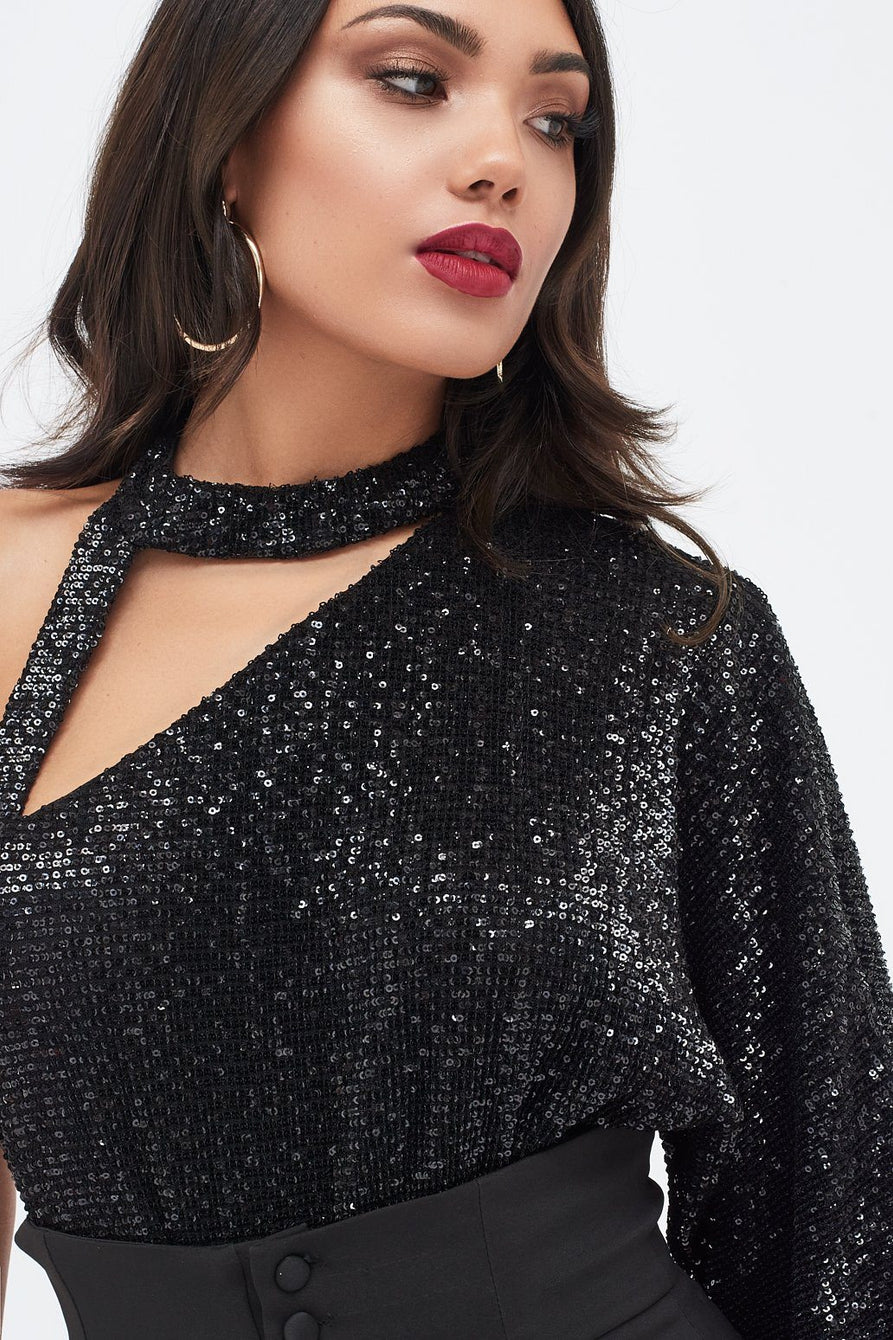 Black Iridescent Sequin One Shoulder Choker Bodysuit
