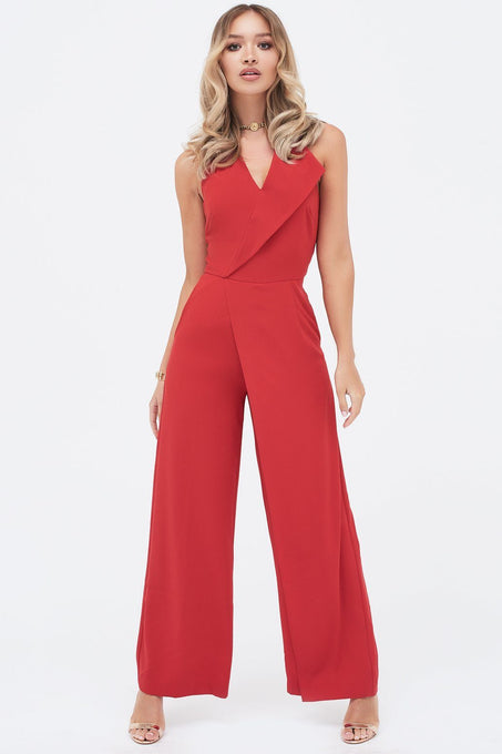 Oversized Collar Halterneck Jumpsuit in Red
