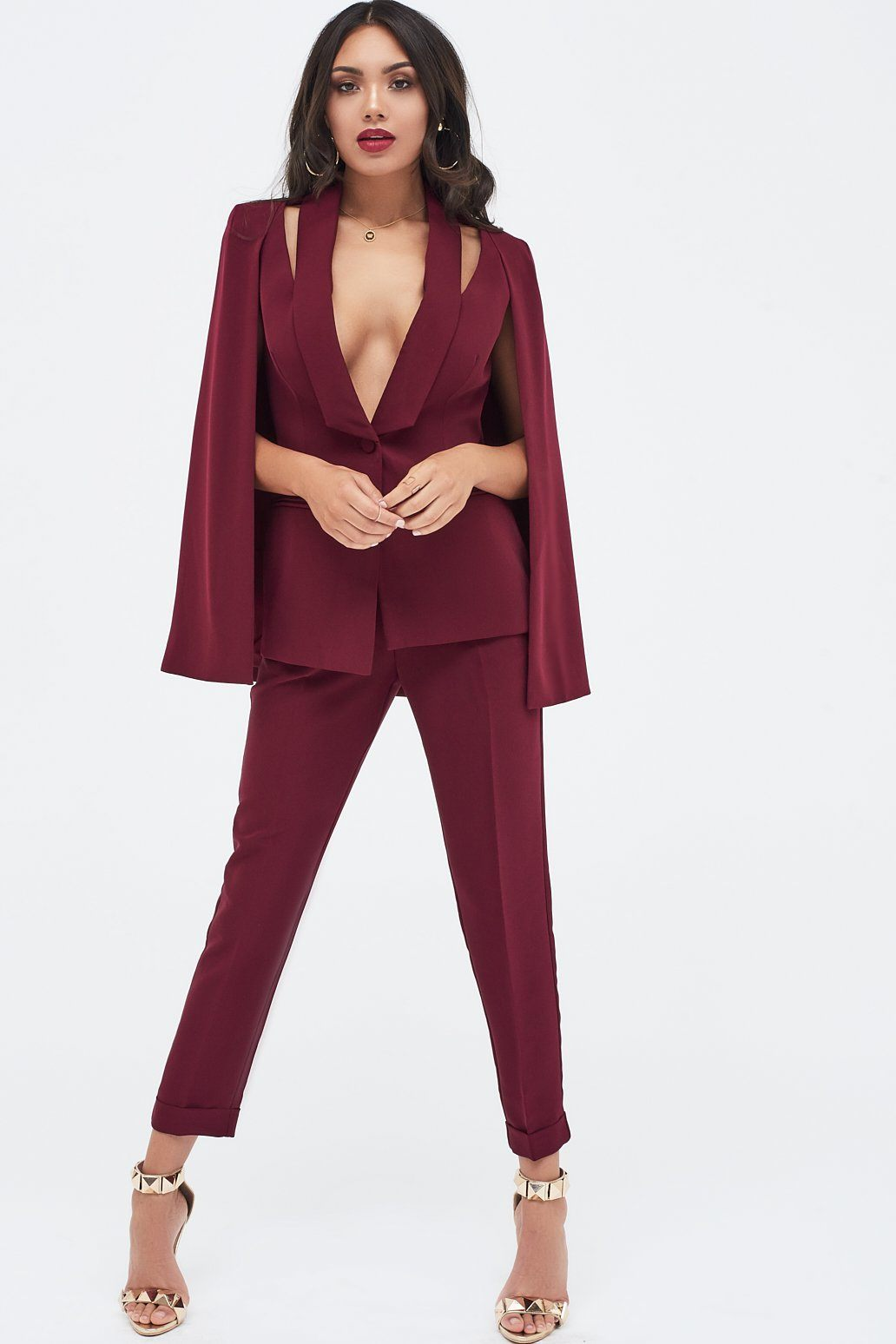 Fitted Cape Blazer With Cut Out Shoulder in Burgundy