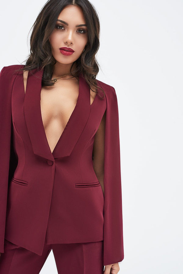 cc2210ce1f Fitted Cape Blazer With Cut Out Shoulder in Burgundy ...