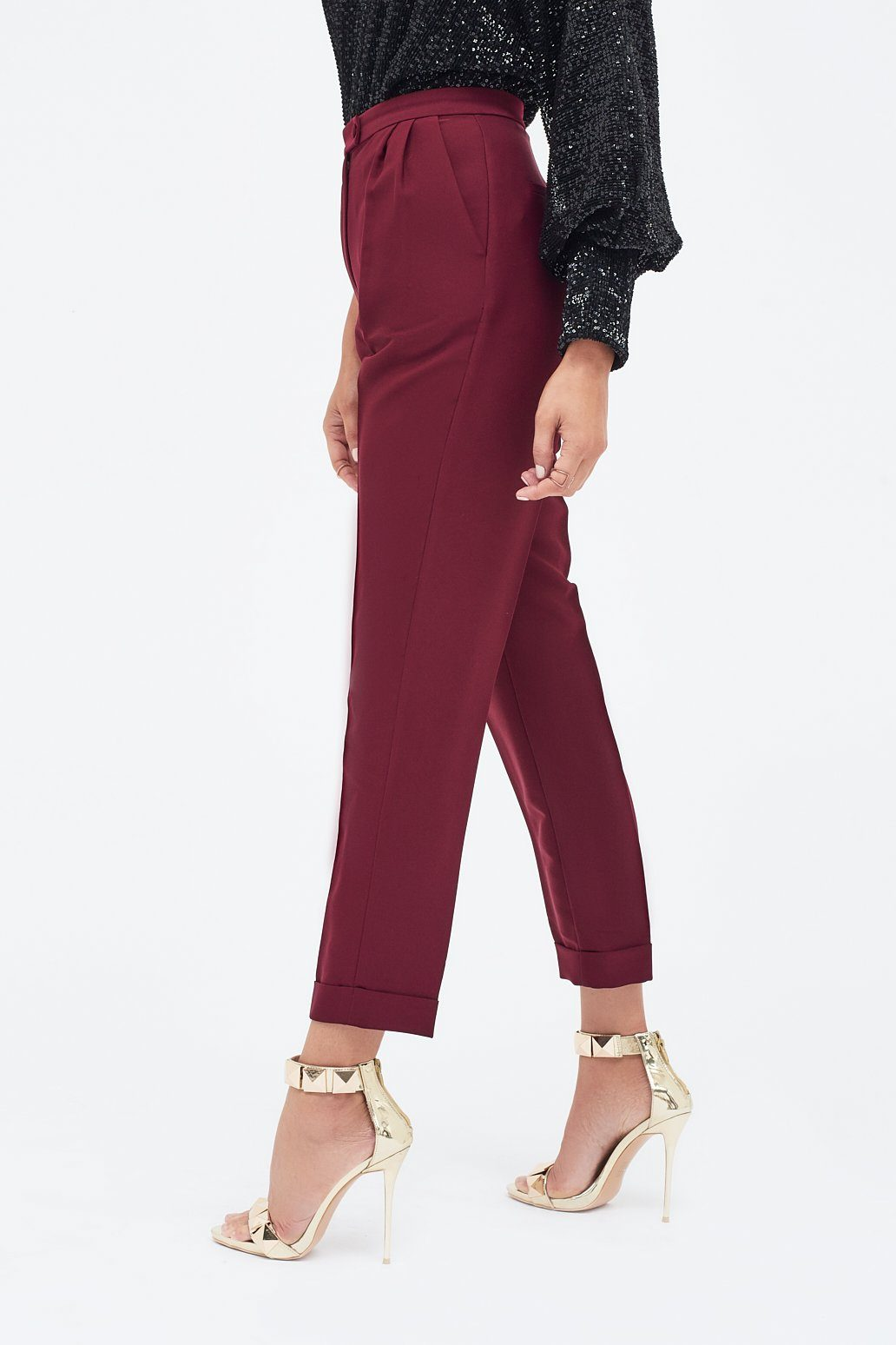 Tapered Mensy Trouser with Folded Hem in Burgundy