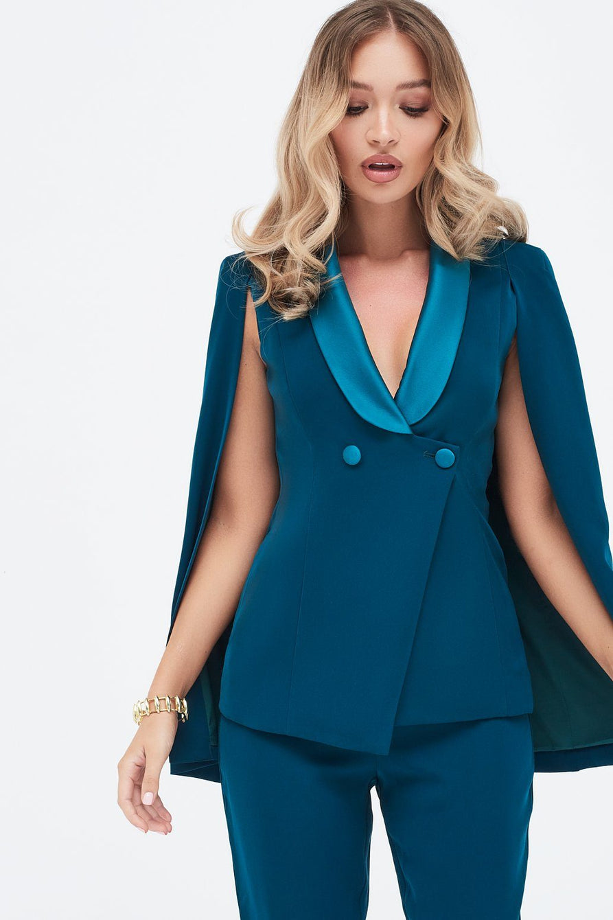 Cape Blazer with Satin Lapel in Forest Green