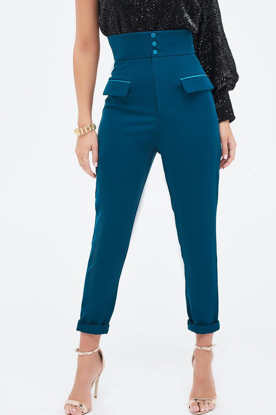 High Waisted Satin Button Tailored Trouser in Green