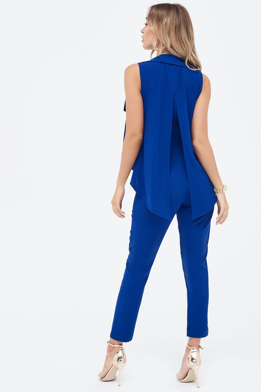 Waterfall Jacket Tailored Jumpsuit in Cobalt