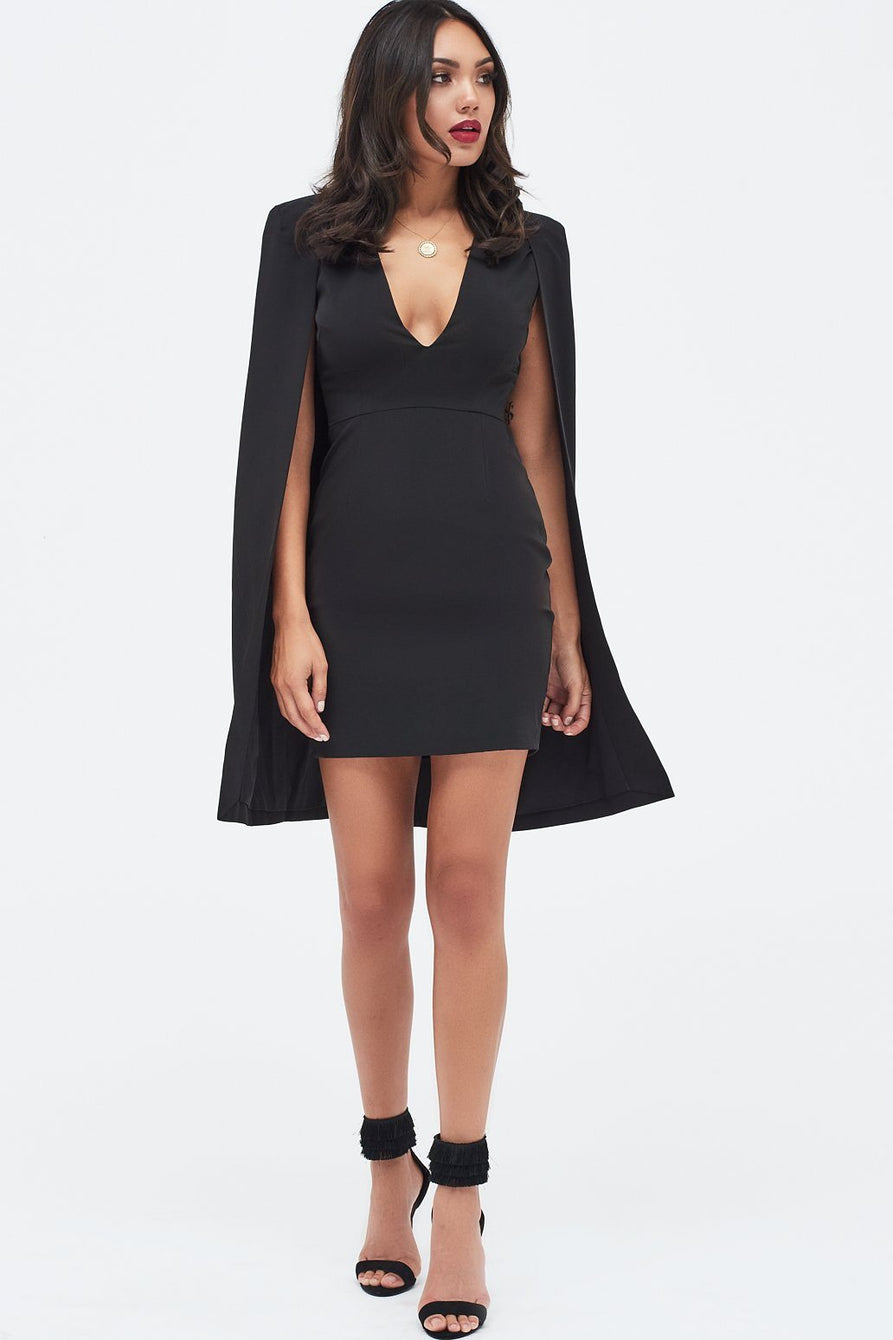 Fitted Cape Mini Dress in Black