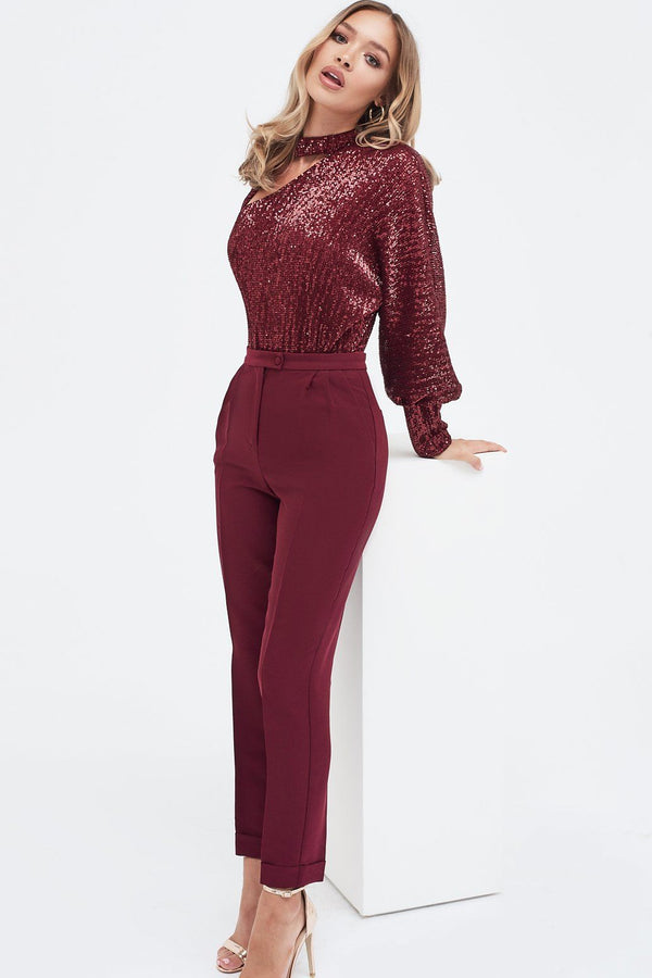 648aa9d9e246 Burgundy Sequin One Sleeve Choker Bodysuit ...