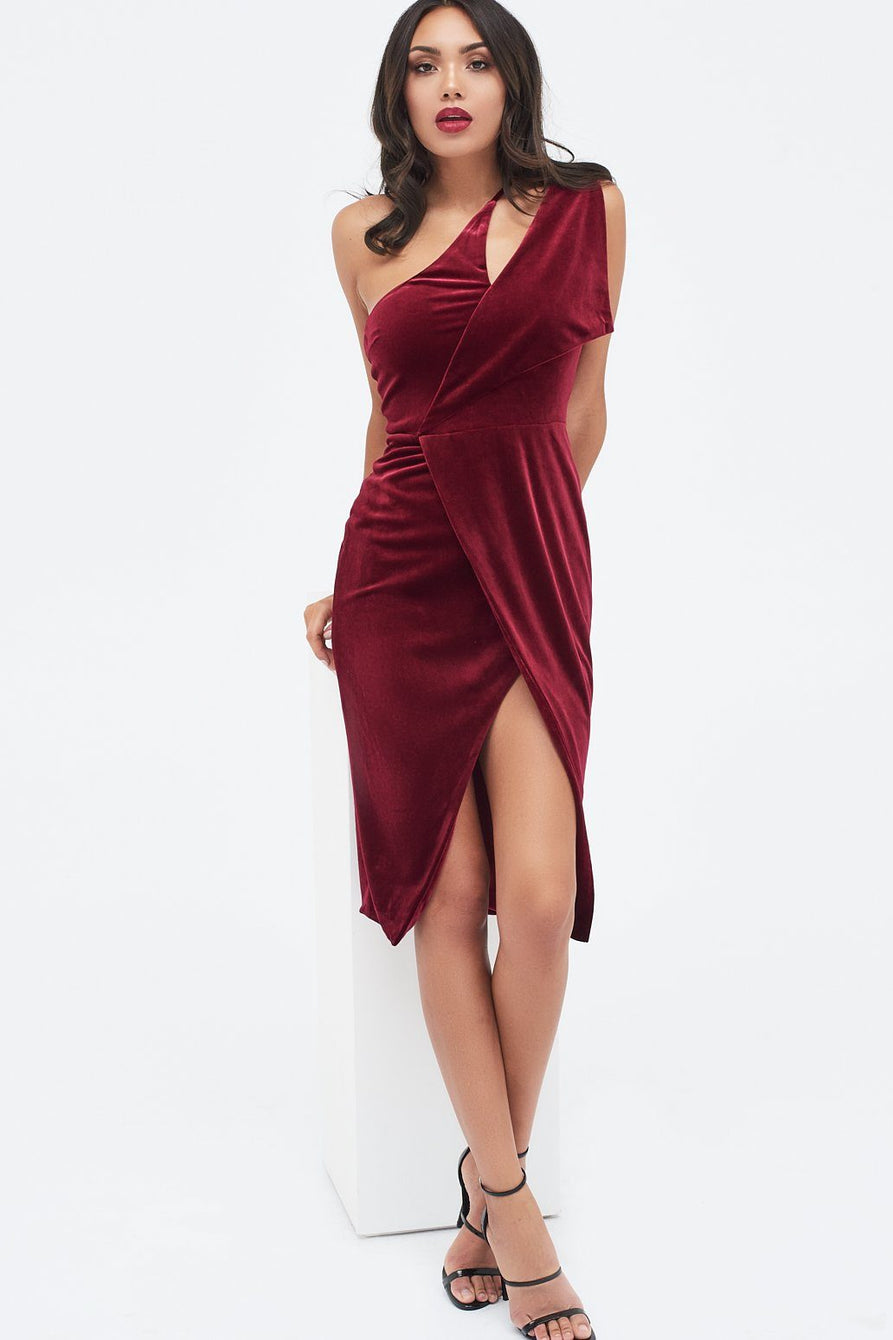 Velvet One Shoulder Cut Out Midi Dress in Pink