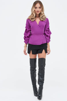 Gathered Sleeve Wrap Shirt in Bright Purple