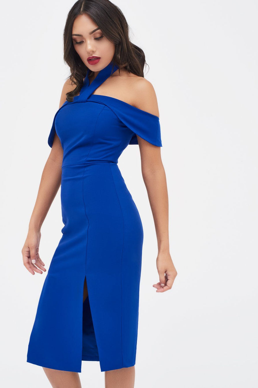 Halterneck Bardot Midi Dress in Cobalt