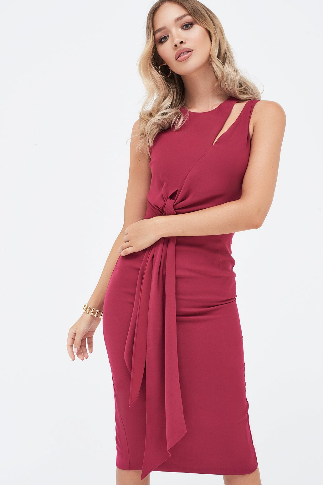 Midi Dress with Draped Side Tie Detail In Magenta