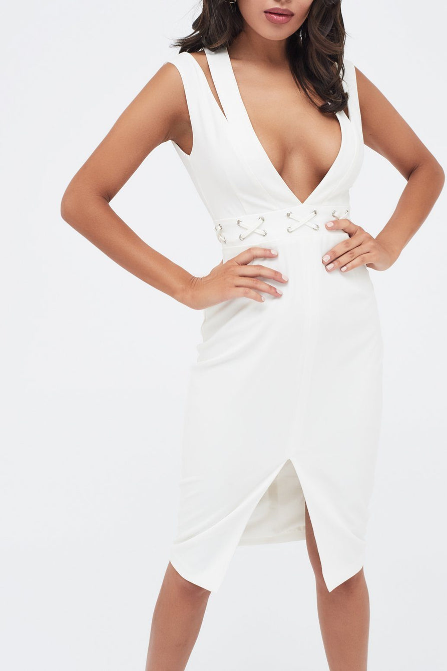 Cut Out Neck Midi Dress With Lace Up Waist in White